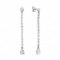 Серебряные серьги-подвески с фианитами 000133999