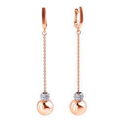 Золотые серьги-подвески в комбинированном цвете с золотыми шарами и фианитами  000117501