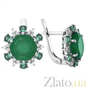 Серебряные серьги с зелёным агатом Бьюти 2306/9р зел.аг.