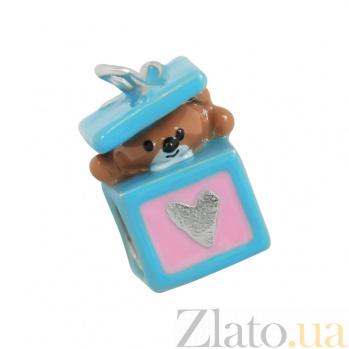 Серебряный шарм с эмалью Подарочек 3Н203-0300
