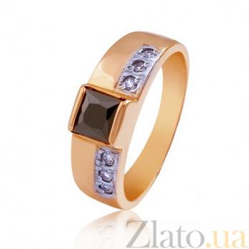 Золотое кольцо с черным цирконием Принцесса EDM--КД025Ч