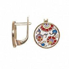 Серебряные серьги Орнаменталь в позолоте с разноцветной эмалью