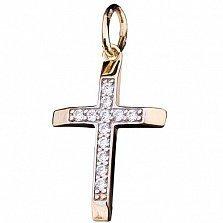 Золотой крестик Скромность с фианитами