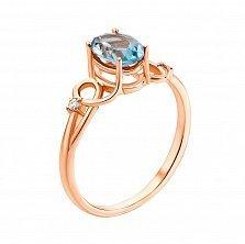 Кольцо из красного золота с топазом и фианитами 000129718