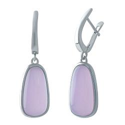 Серебряные серьги-подвески Менуэт с розовым кварцем