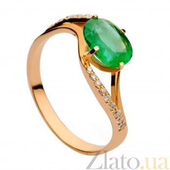 Кольцо из красного золота с изумрудом и бриллиантами Клодин 000030349