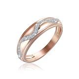 Серебряное кольцо Волна с позолотой и фианитами