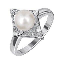 Серебряное кольцо с жемчугом и фианитами  000047434