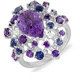 Золотое кольцо с аметистом, топазами, иолитами и брилилантами Милена