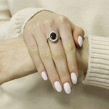 Серебряное кольцо Орнелла с синтезированным гранатом и фианитами
