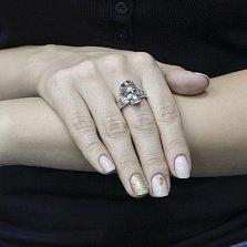 Серебряное кольцо Череп в короне с чернением