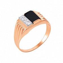 Золотой перстень-печатка Бенджамин в комбинированном цвете с черным ониксом и фианитами