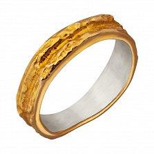 Серебряное кольцо Левкада с фактурной поверхностью и позолотой