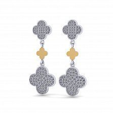 Серебряные серьги-подвески Антонелла с золотыми накладками и фианитами