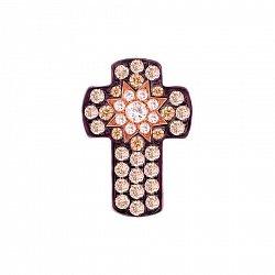 Крестик из красного золота Счастливая звезда с белыми и коньячными бриллиантами