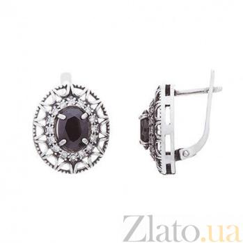 Серебряные серьги Флоренция с черным цирконием AQA--72550ч*