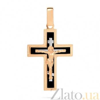 Золотой крестик Символ веры с черной эмалью и насечкой SUF--541131нчш
