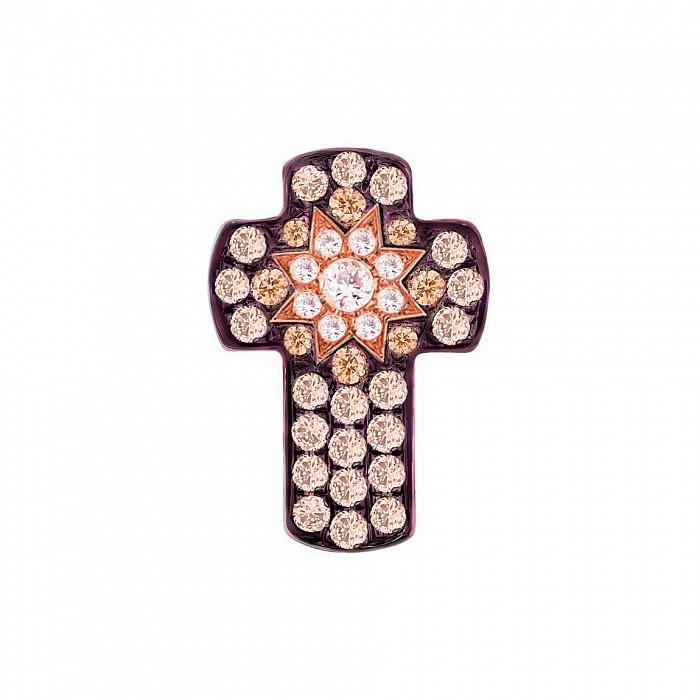Крестик из красного золота Счастливая звезда с белыми и коньячными бриллиантами 000082004