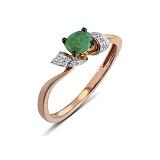 Кольцо из красного золота Джулия с бриллиантами и изумрудом