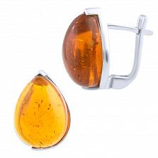 Серебряные серьги Леда с янтарем