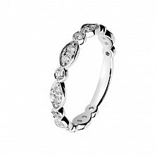 Кольцо в белом золоте Фигаро с бриллиантами