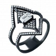 Серебряное кольцо Принцесса-воин с фианитами и черным родием