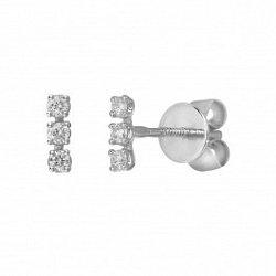 Серьги-пуссеты из белого золота Терри с бриллиантами