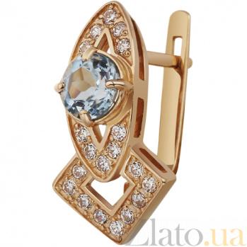 Золотые серьги с топазами Патрисия AUR--32719 02