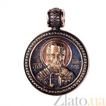 Золотая ладанка с чернением Святой Николай ONX--пю01654