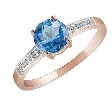 Кольцо Марта из комбинированного золота с бриллиантами и топазом