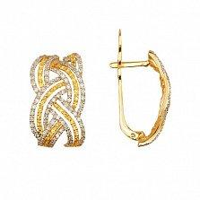 Золотые серьги с белым и желтым цирконием Вивьен