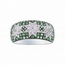 Кольцо из белого золота Эльфийские звезды с бриллиантами и цаворитами
