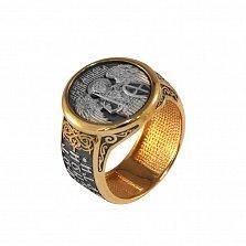 Мужской перстень Архангел Михаил из серебра в позолоте с чернением