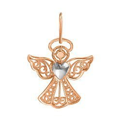 Узорный кулон-ангел в комбинированном цвете золота с сердечком 000129754