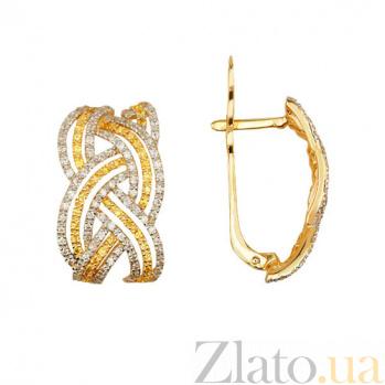 Золотые серьги с белым и желтым цирконием Вивьен VLT--ТТТ2226-1