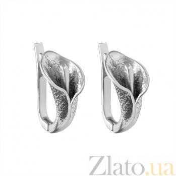 Серебряные серьги Каллы с чернением 000080057