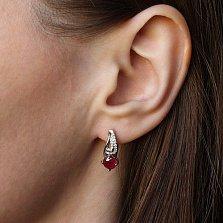 Серебряные серьги с рубином Ягода