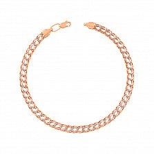 Золотой браслет Неаполь в комбинированном цвете в плетении королевский бисмарк с алмазной гранью