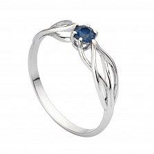 Золотое кольцо Эльфийская магия в белом цвете с сапфиром