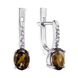 Серебряные серьги с раухтопазом и фианитами 000064443