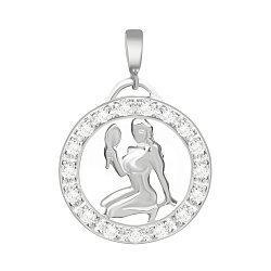 Серебряный подвес с кристаллами циркония Дева  000025314