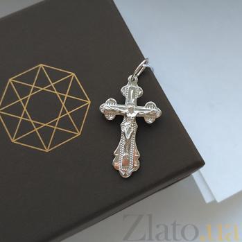 Крестик из серебра с родированием Духовная сила HUF--3107-АР