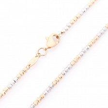 Золотая цепочка Бабетта в комбинированном цвете с алмазной гранью