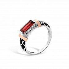 Серебряное кольцо Самира с золотыми накладками, красным и белыми фианитами, черной эмалью
