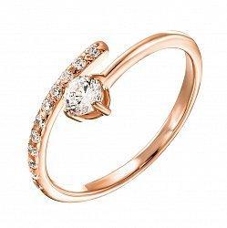 Кольцо из красного золота с фианитами 000121626