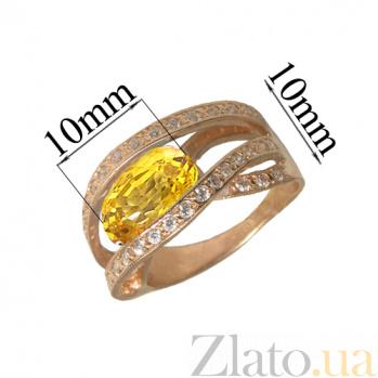 Золотое кольцо с цитрином и фианитами Катрин PTL--1к515/25