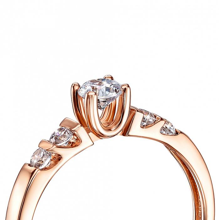 Кольцо в красном золоте с фианитами 000117679 000117679