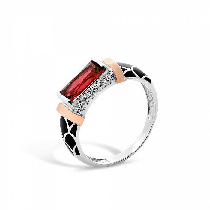 Серебряное кольцо Самира с золотыми накладками, красным и белыми фианитами, черной эмалью 000067090