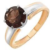 Золотое кольцо Гарнет с раухтопазом