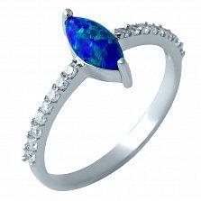 Серебряное кольцо Имма с синим опалом и фианитами